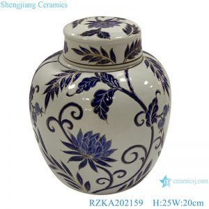 RZKA202159 White family rose ceramic flower design jar
