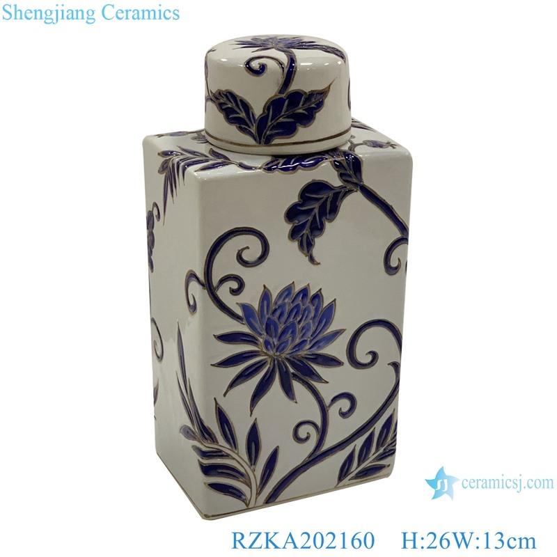Flat flower design ceramic pot cuboid with cover