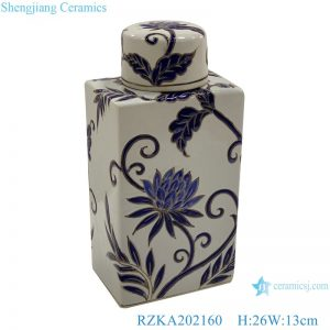 RZKA202160 Flat flower design ceramic pot cuboid with cover