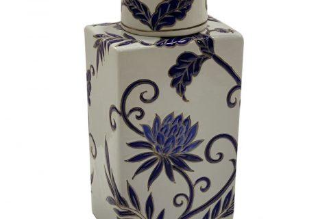 RZKA202160 Flat flower design ceramic pot cuboid with cover