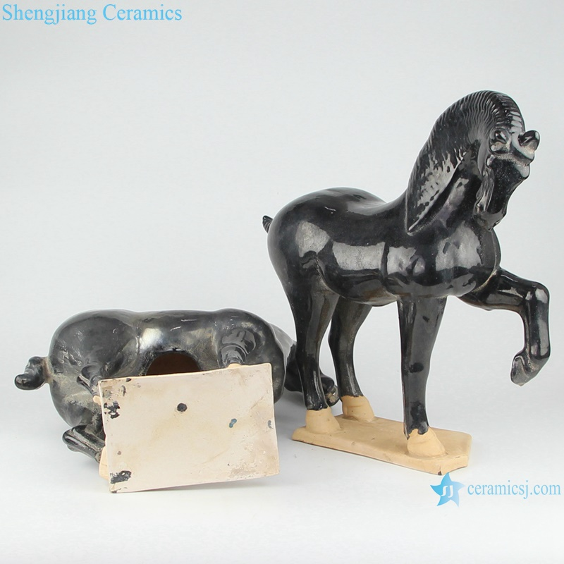 RZLN05-B/RZLN05-C porcelain horses twin horses figurine with 2 colors for home decoration