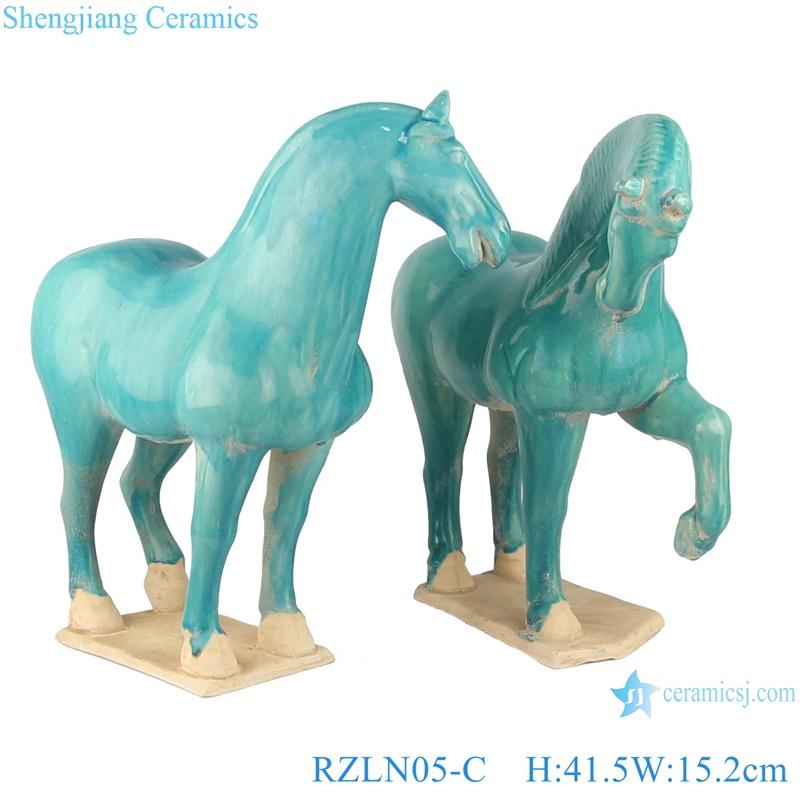 RZLN05-B green horse porcelain statue front view from shengjiang