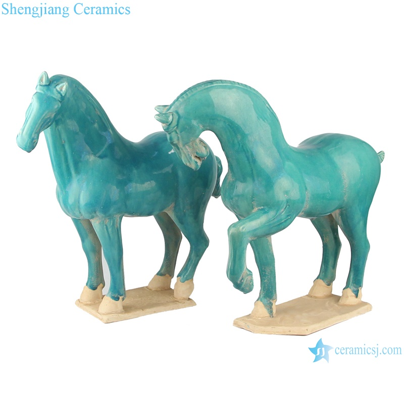 RZLN05-B green porcelain statue horse middle size side view from chinajingdezhen