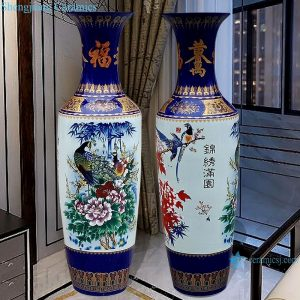 RZRi01-A Hand painted famille rose vase with blue and yellow flowers vase