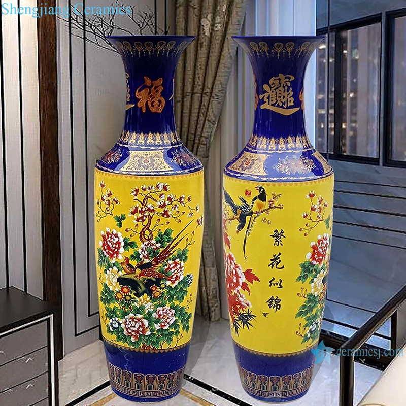 Hand painted famille rose vase with blue and yellow flowers vase