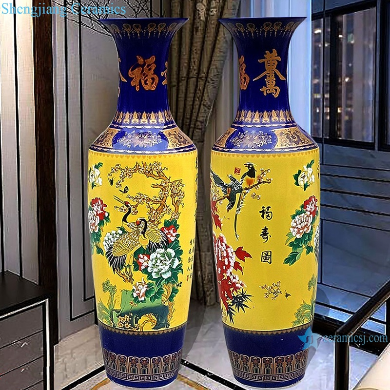 famille rose vase with blue and yellow flowers vase
