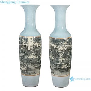 RZRi11-A Porcelain antique crack large vase ornaments in Qingming shanghetu