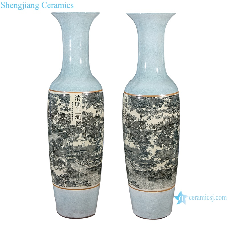 RZRi11-A Porcelain antique crack large vase ornaments in Qingming shanghetu