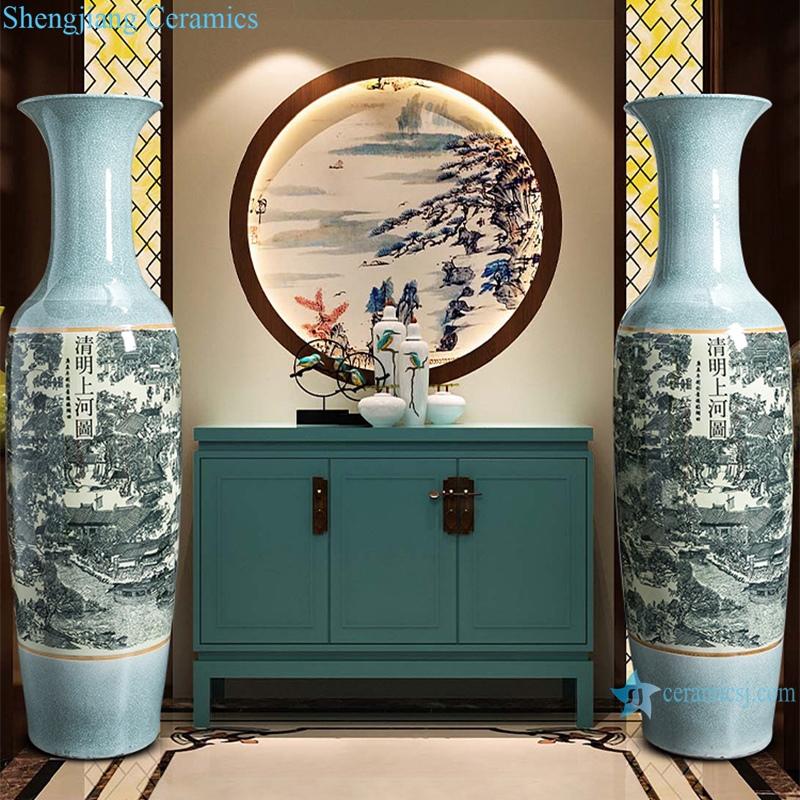 """""""Porcelain antique crack large vase ornaments in Qingming shanghetu"""