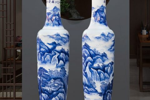 RZRi16-A Jingdezhen porcelain floor vase hand painted blue and white porcelain splendid future living room decoration