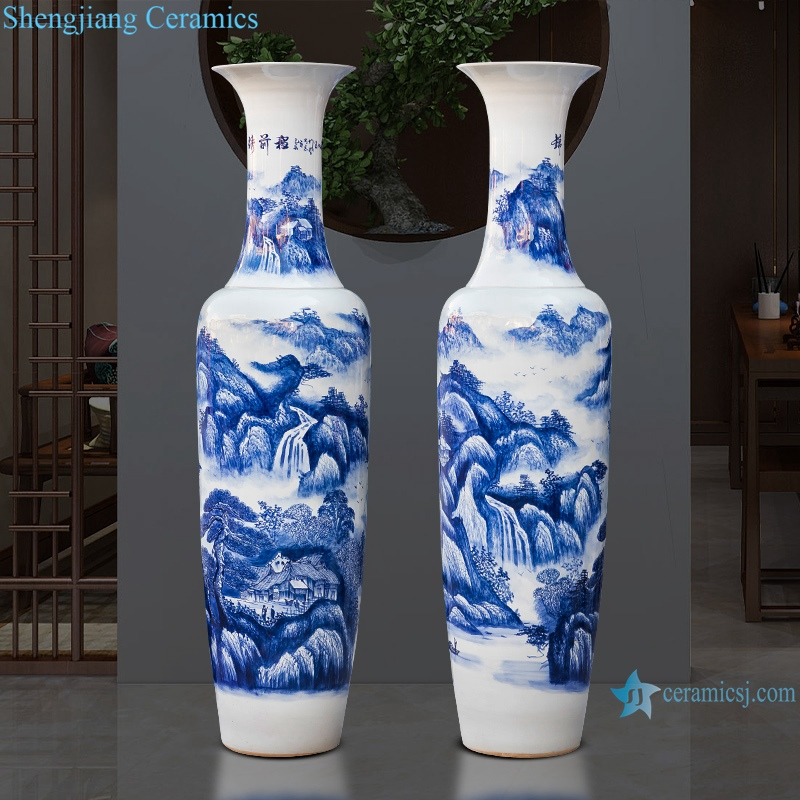 RZRi16-A Jingdezhen porcelain floor vase hand painted blue and white porcelain splendid future living room decoration
