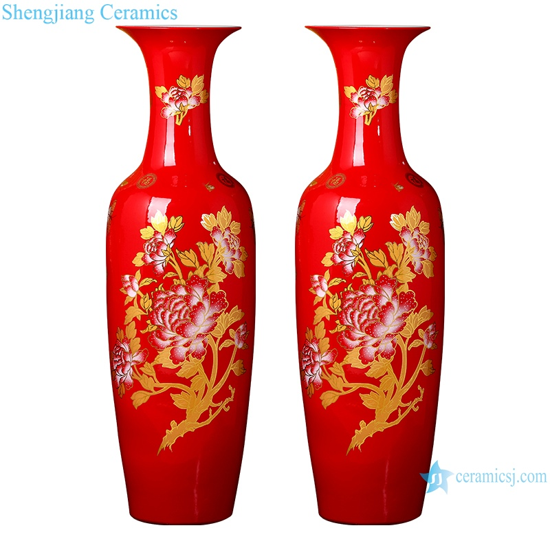 RZRi34-A Ceramic Ware China Red floor vase Chinese style home decoration