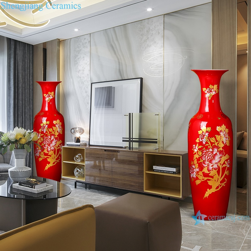 China Red floor vase Chinese style home decoration