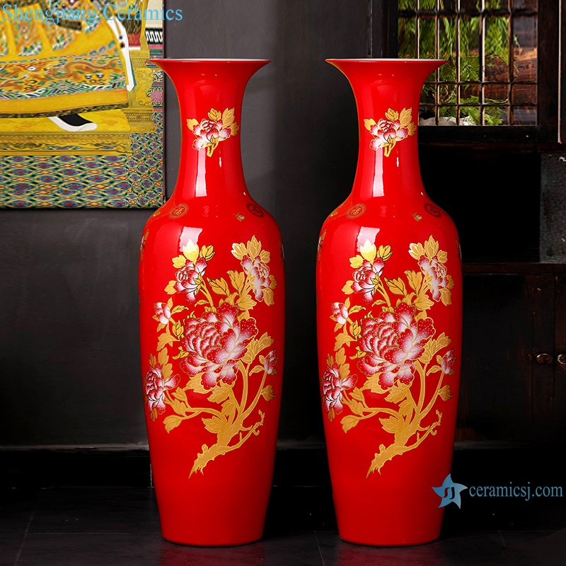 """""""Ceramic Ware China Red floor vase Chinese style home decoration"""