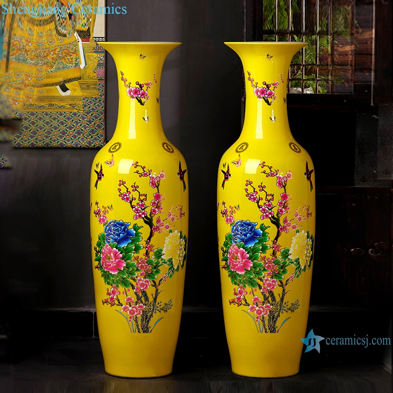 """Ceramic Ware China yellow floor vase Chinese style home decoration"