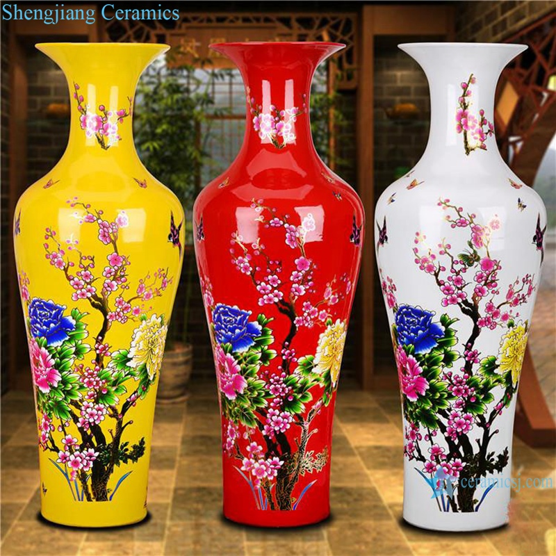 RZRi36-A Ceramic large vase with red and yellow flowers blooming_