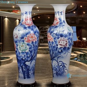 RZRi44-A hand painted ceramic vase blue and white landscape peony floor decoration