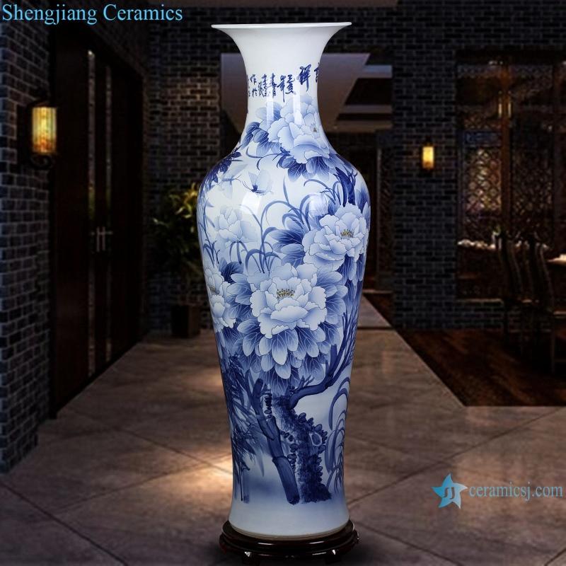 hand painted ceramic vase blue and white landscape peony floor decoration