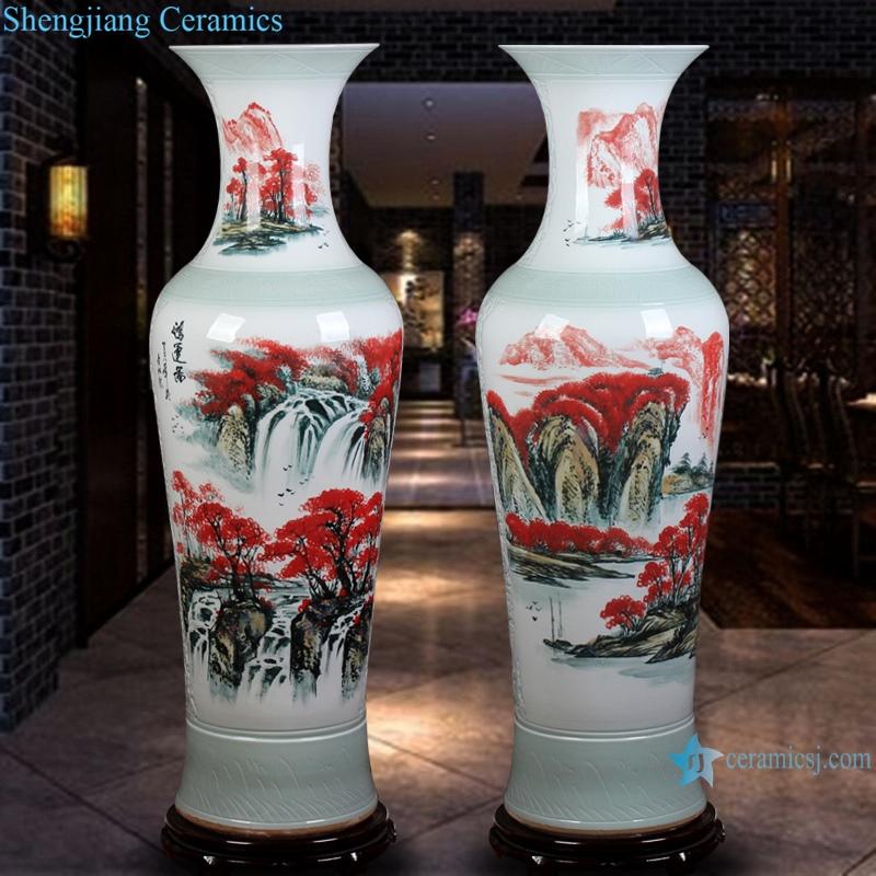 Chinese hand painted ceramic vase blue and white landscape peony floor decoration