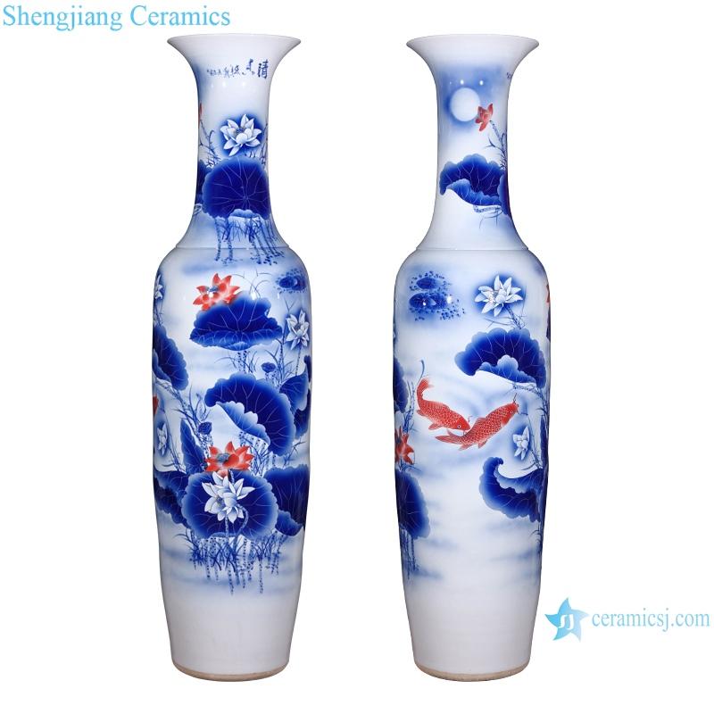 hand painted blue and white landscape living room floor ceramic vase
