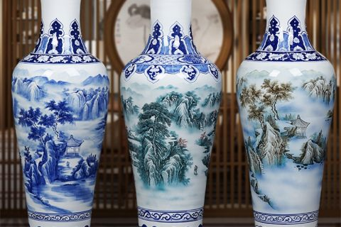 RZRi47-A hand painted blue and white landscape living room floor ceramic vase