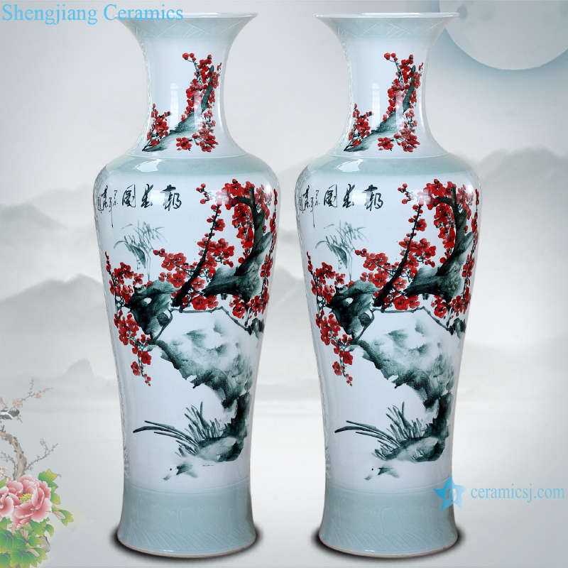 RZRi58-A Ceramic floor living room large vase hand painted carving spring festival picture floor