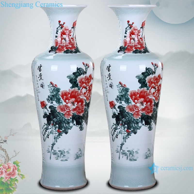 Ceramic floor living room large vase hand painted carving spring festival picture floor