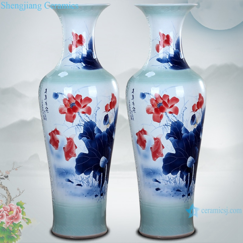 Chinese Ceramic floor living room large vase hand painted carving spring festival picture floor