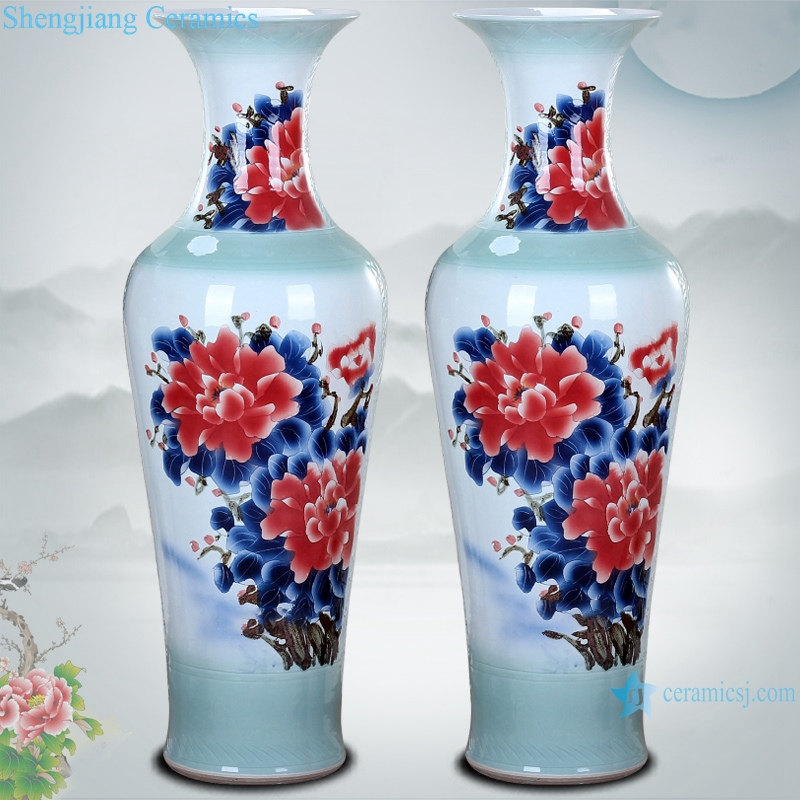 Ceramic floor large vase hand painted carving spring festival picture floor