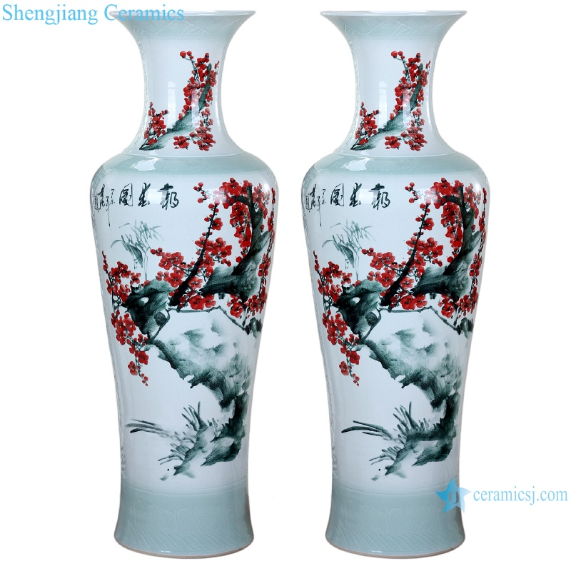 Ceramic vase hand painted carving spring festival picture floor