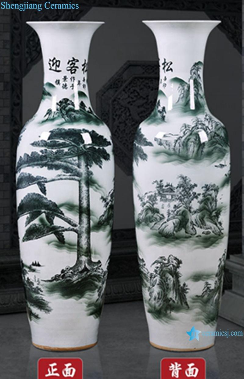 Ceramic floor blue and white good luck right over head vase