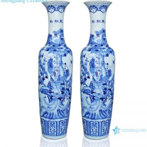 RZRi09-A Blue and white porcelain hand painted birds facing Phoenix large vase