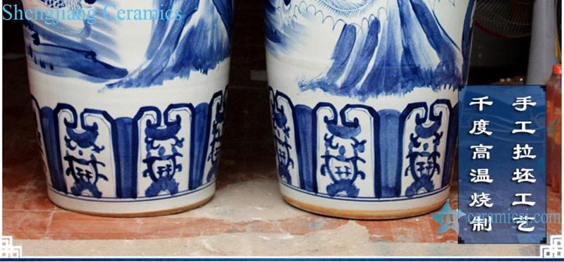 Chinese Blue and white porcelain hand painted birds facing Phoenix large vase