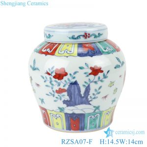 RZSA07-F Chinese powder enamel flower chick pattern ceramic storage pots