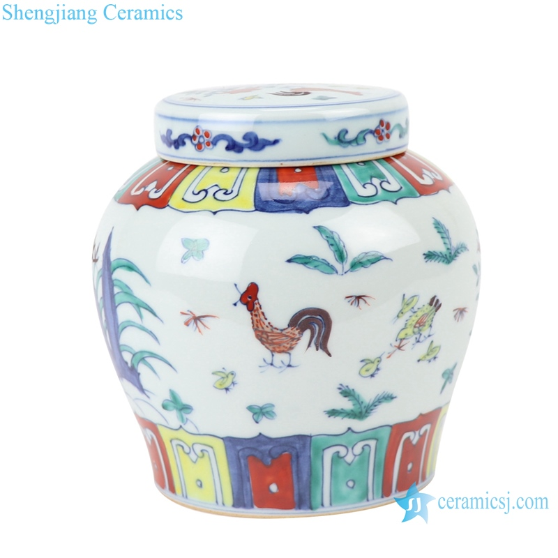 RZSA07-F Chinese powder enamel flower chick pattern ceramic storage pots