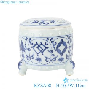 RZSA08 Chinese handmade Blue and white pattern hollow hole ceramic pot