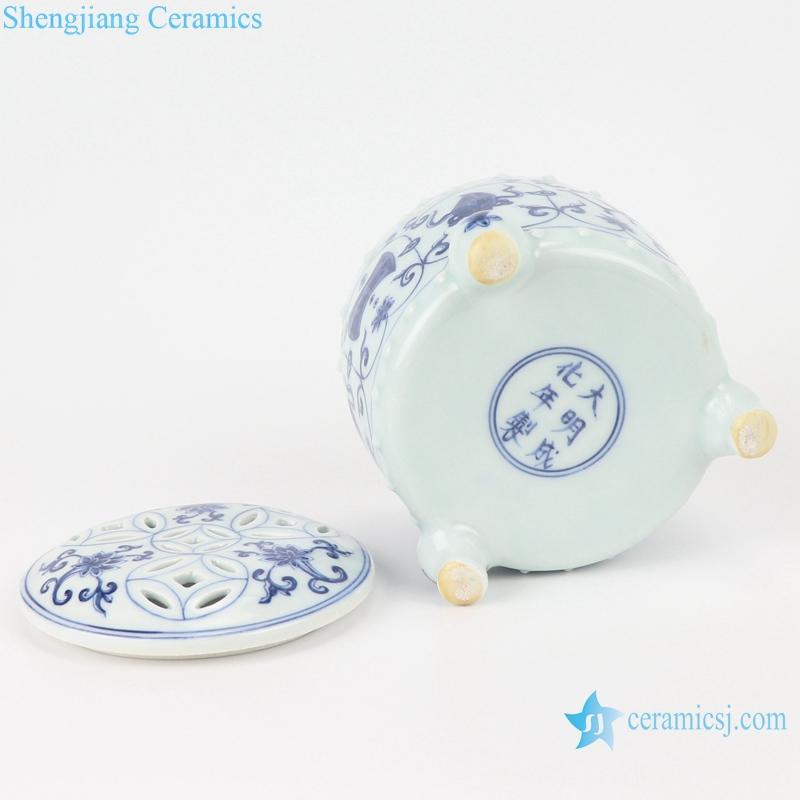 RZSA08 Chinese handmade Blue and white pattern hollow hole ceramic pot