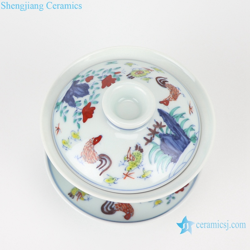 RZSA09 Chinese powder enamel multi-colour tea cup with base holder