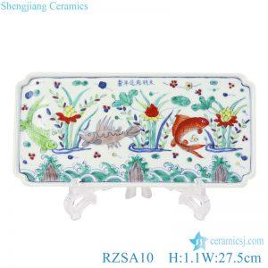 RZSA10 Chinese ceramic powder enamel plate with koi design