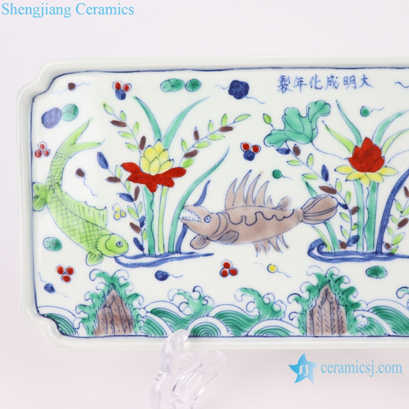 RZSA10 Chinese ceramic powder enamel plate with koi design