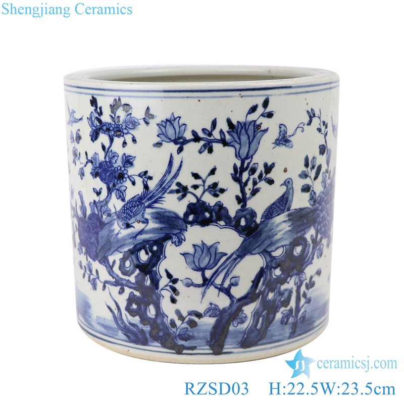 RZSC02 Chinese Blue and white flower and bird design brush pots