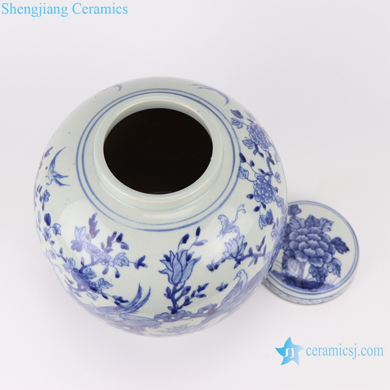 RZSC03 Chinese blue and white flower and bird storage porcelain pot with lid