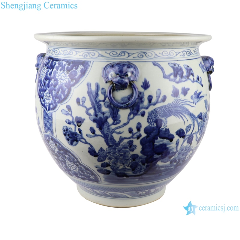 RZSC04 blue and white porcelain floral and fish pattern with four ears ceramic storage pot