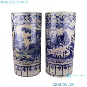 RZSC06-A/B Chinese hand painted blue and white figure picture ceramic umbrella tube