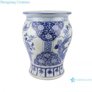 RZSC08 hand-painted flowers and birds, blue and white porcelain small drum stool