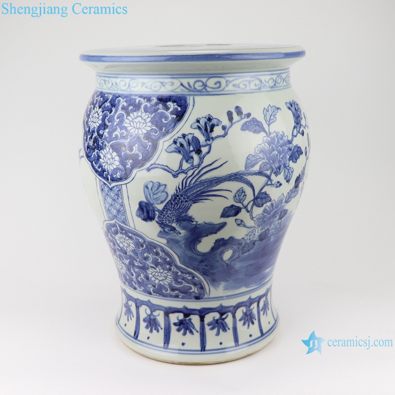 hand-painted flowers and birds, blue and white porcelain small drum stool