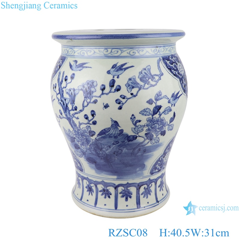 flowers and birds, blue and white porcelain small drum stool