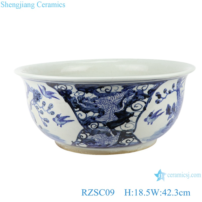 RZSC09 Hand painted blue and white porcelain fish tank with flower and bird patterns