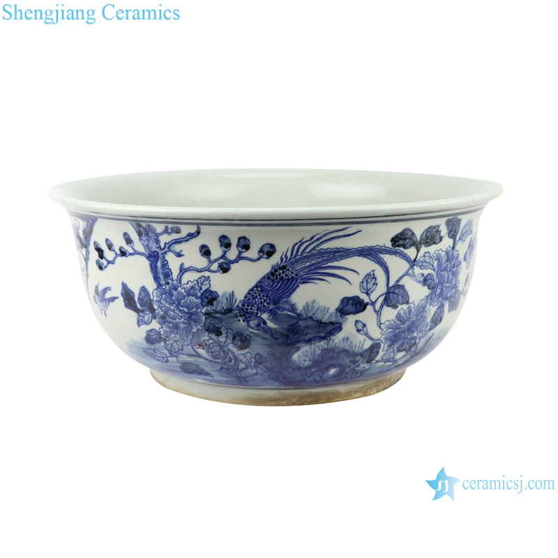 Hand painted blue and white porcelain fish tank with flower and bird patterns