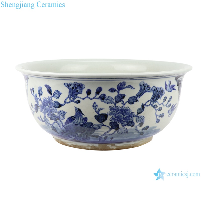 chinese hand painted blue and white porcelain fish tank with flower and bird patterns